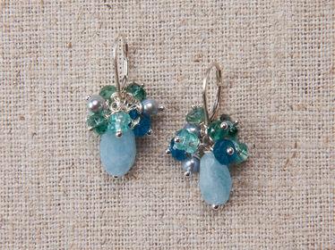 Gemstone Corsage Earrings-blue