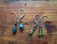 Gemstone Barrel Earrings