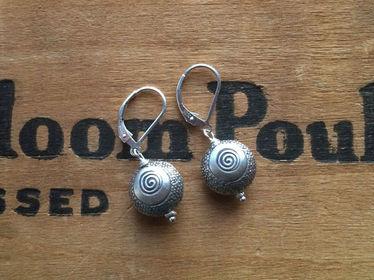 Stamped Silver Earrings Swirl