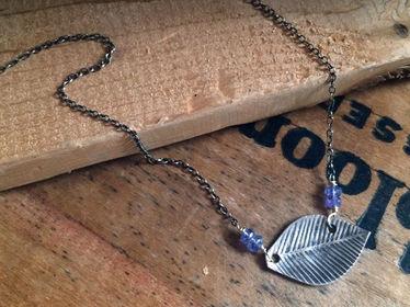 gemstone leaf necklace