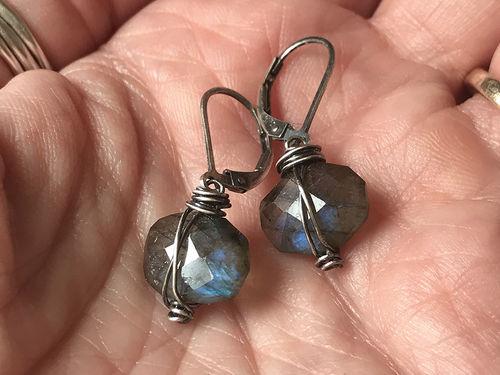 wire wrapped labradorite earrings