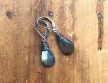 labradorite sterling silver nest earrings