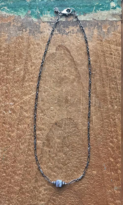 dendritic agate sterling silver Thai silver choker
