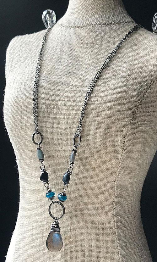 labradorite-australian opal-apatite-thai silver-daisy chains jewelry