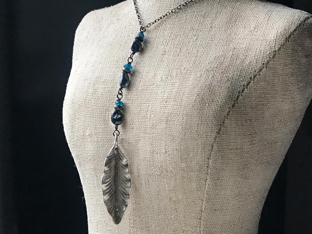 opal leaf pendant