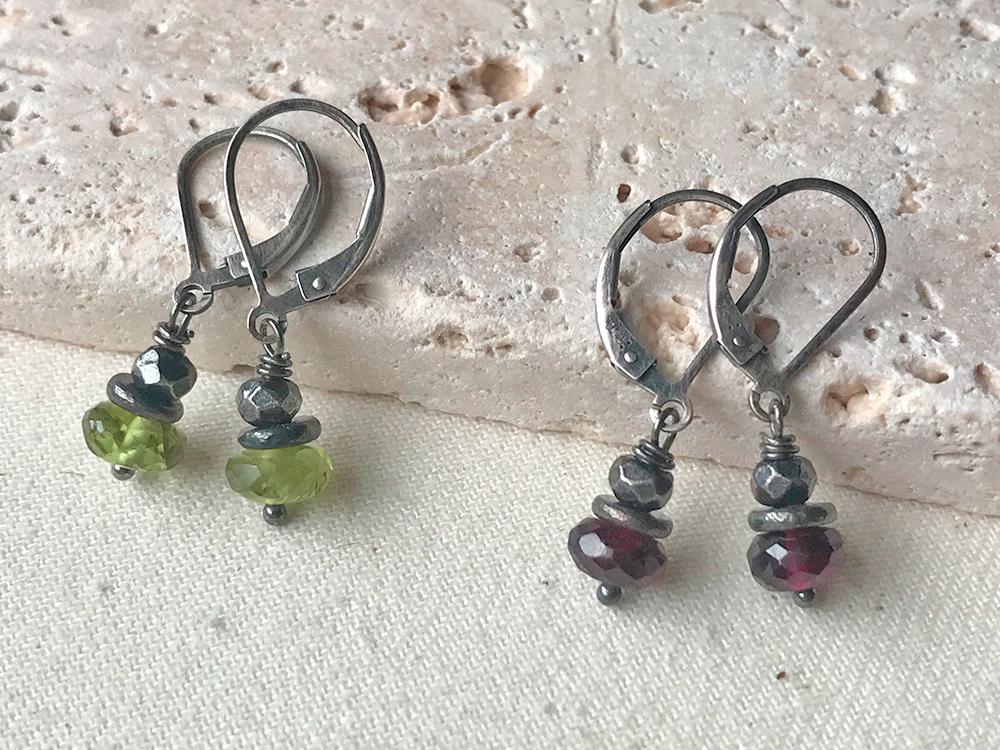 Simple Silver Gemstone Button Earrings