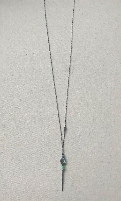 labradorite & chrysoprase totem pendant