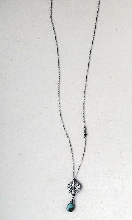 Turquoise & Daisy Medallion Pendant Necklace