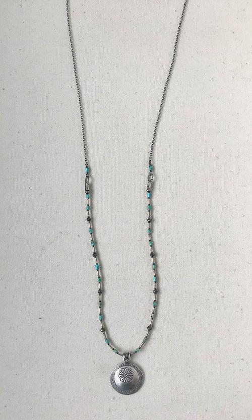 Turquoise Heishi Pendant Necklace