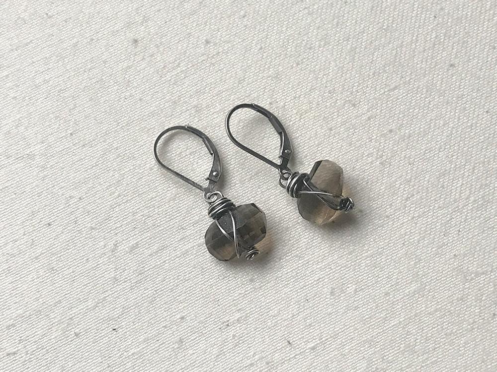 Wire-Wrapped Smoky Quartz Earrings