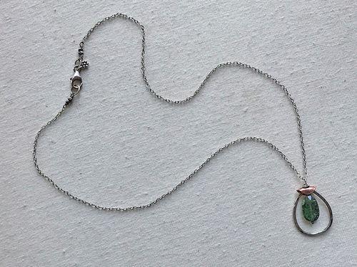 Framed Green Kyanite Pendant