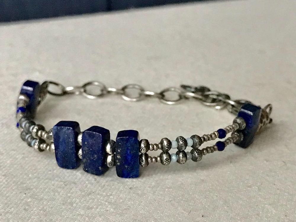 Double Strand Lapis Bracelet