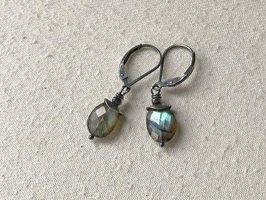 sterling capped labradorite earrings