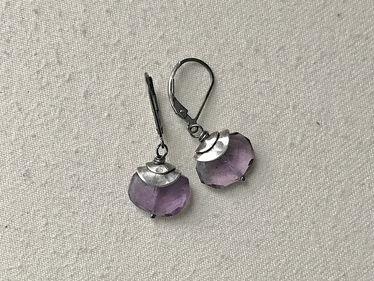 sterling double topped amethyst earrings