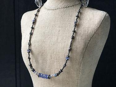 tanzanite & australian opal beaded necklace