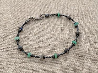 chrysoprase labradorite & sterling bracelet