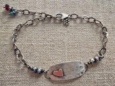 rustic sterling heart bracelet