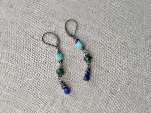 Triple Stone Nest Earrings