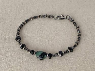 Emerald, Black Spinel & Thai Silver Bracelet