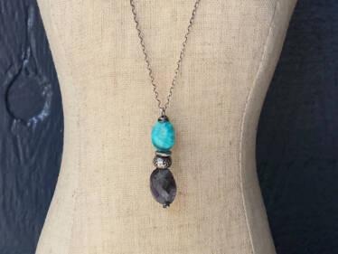 kingman turquoise & iolite pendant