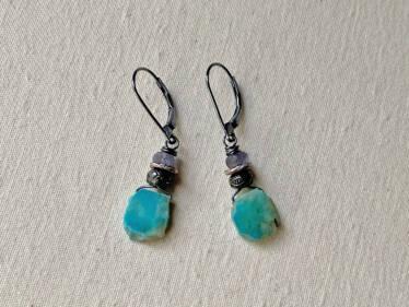 Gem Silica & Iolite Earrings
