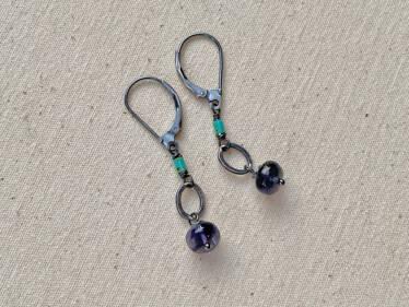 Kingman Turquoise & Iolite Earrings