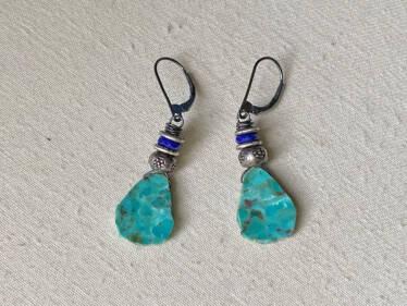 turquoise & lapis slice earrings