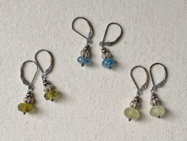 gemstone ruffle earrings
