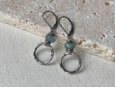 moss aquamarine hoop earrings