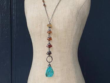 Hessonite & Turquoise Y Pendant