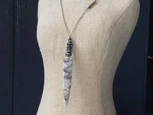 laguna lace agate & iolite pendant