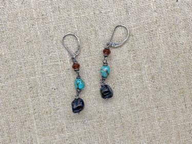 Three Stone Pietersite Earrings