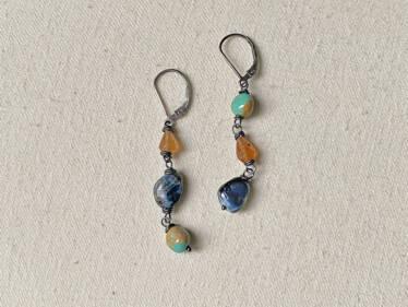 topsy turvy pietersite earrings