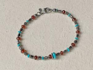 turquoise & hessonite cube bracelet