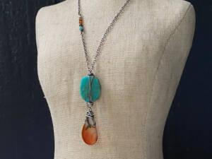 Turquoise & Montana Agate Pendant