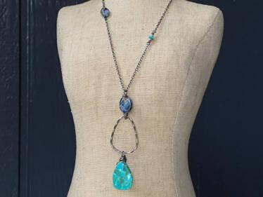 turquoise & pietersite hammered ring pendant