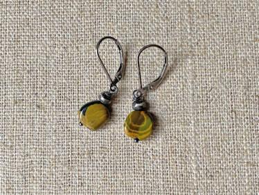 green & gold ocean jasper earrings