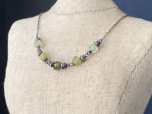 Five Stone Green Garnet Necklace