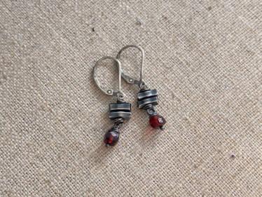 garnet & Thai silver bar earrings