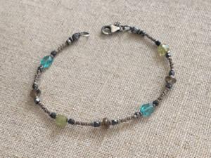 green garnet apatite diamond quartz Bracelet