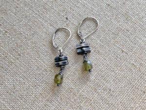 Green Garnet & Thai Silver Bar Earrings