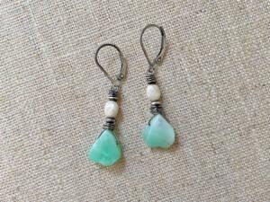 Chrysoprase & Calcite Earrings